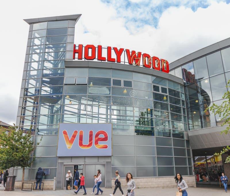 London/Großbritannien - 15. Juni 2019 - 'Hollywood-Grün 'Vue-Kino, in Wood Green in der Stadt von Haringey lizenzfreies stockfoto