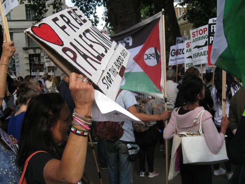 "London Großbritannien - 5. Juni 2018: Leute an freiem Palästina-†""stoppen lizenzfreie stockfotografie"