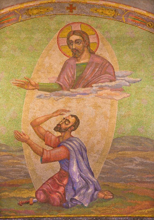 LONDON, GROSSBRITANNIEN - 17. SEPTEMBER 2017: Das Mosaik von Converson von St Paul in Westminster-Kathedrale lizenzfreies stockbild