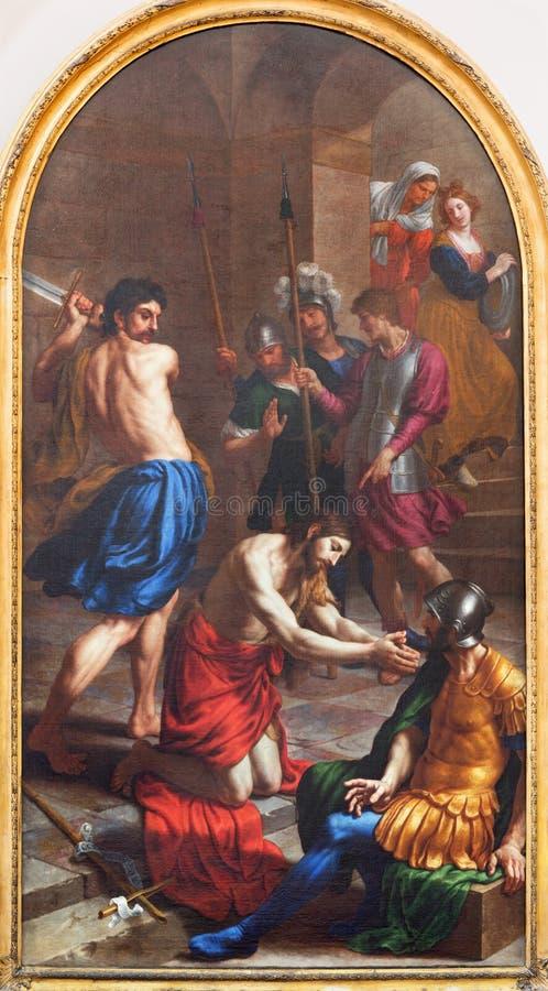 LONDON, GROSSBRITANNIEN - 17. SEPTEMBER 2017: Die Malerei der Enthauptung von Johannes der Baptist in Kirche St. Peter Italian stockfoto