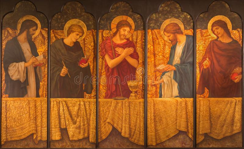 LONDON, GROSSBRITANNIEN - 15. SEPTEMBER 2017: Die Malerei von Jesus mit den Symbolen der Masse unter dem Evangelisten vier stockfoto