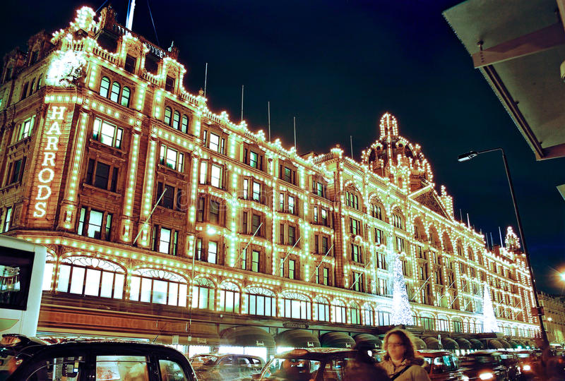 London, Harrods at night in Christmas