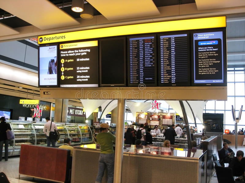 London Heathrow Airport. Coffee shops in the departure hall of London Heathrow Airport stock image
