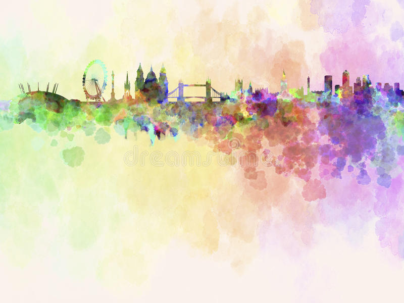 London horisont i vattenfärgbakgrund vektor illustrationer