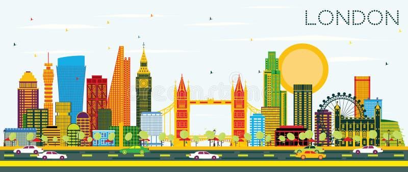 London horisont med färgbyggnader och blå himmel stock illustrationer