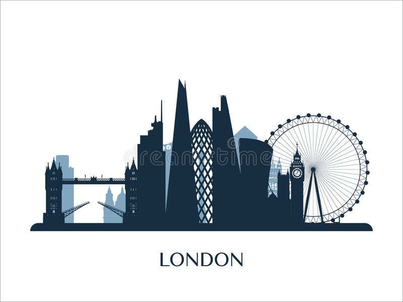 London horisont, monokrom färgkontur stock illustrationer