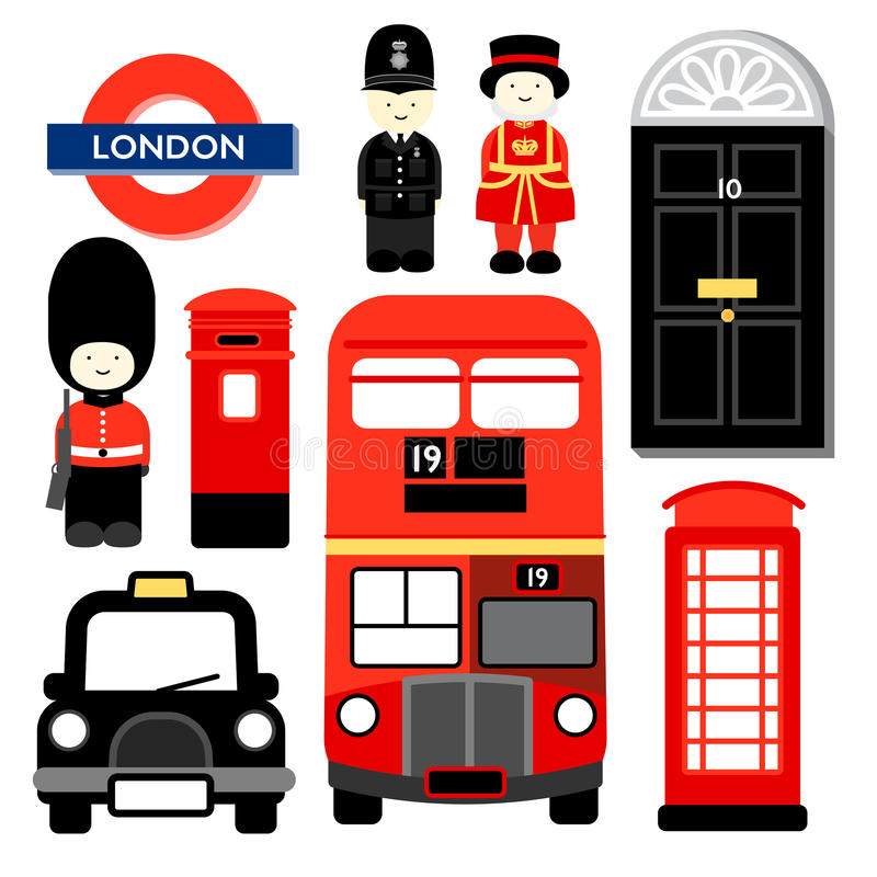 London, England, UK, Britain, travel, symbol, cartoon ...