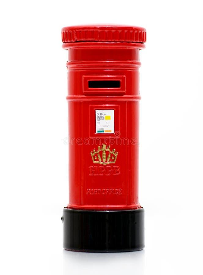 London iconic post box letter. Miniature on white stock image