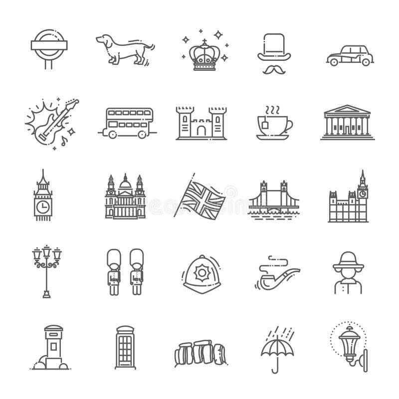 London icons set. England, thin line design stock illustration