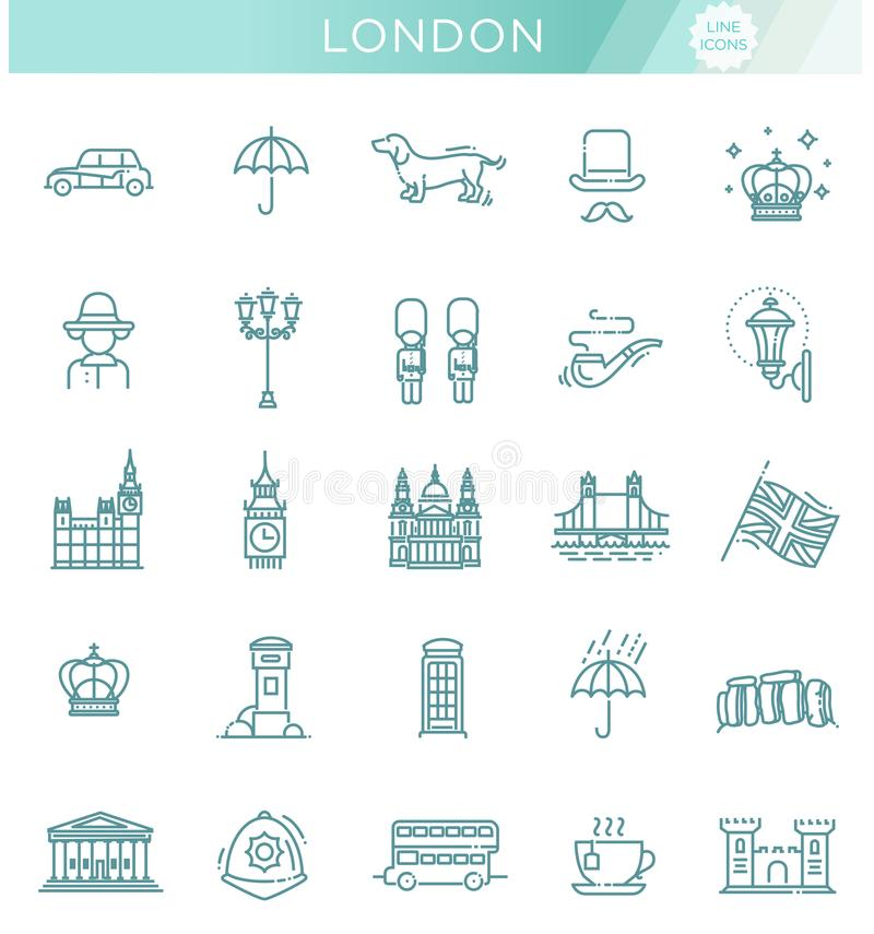 London icons set. England, thin line design vector illustration