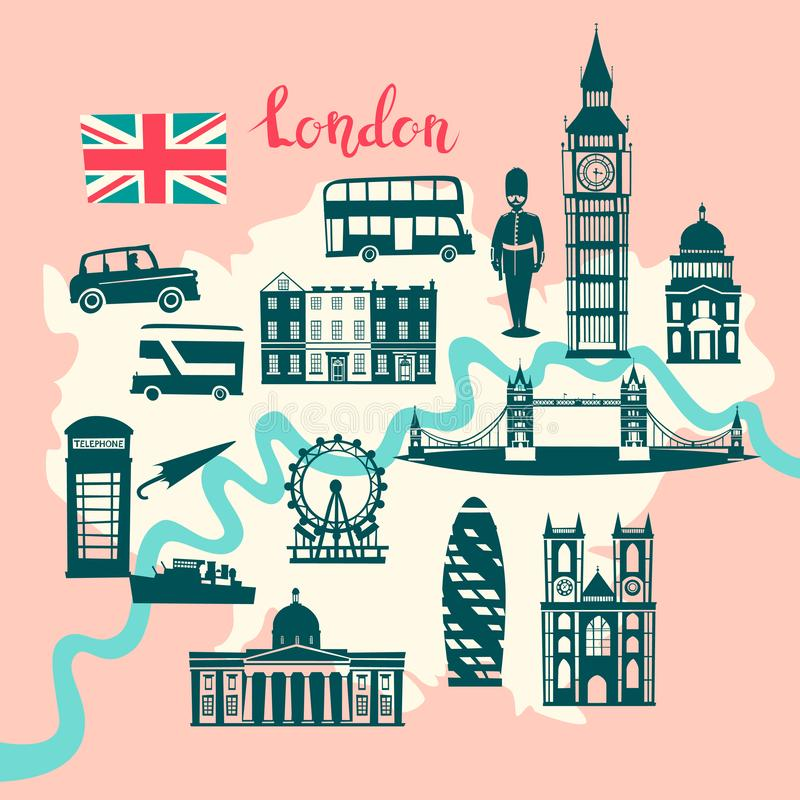London illustrated map vector. Skyline silhouette Illustration, pink and gray color stock illustration