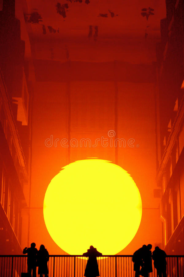 London - January 21, 2004: Eliasson's The Weather Project, which stock photo
