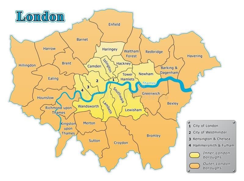 Karte London.Karte Der London Städte Vektor Abbildung Illustration Von Merton