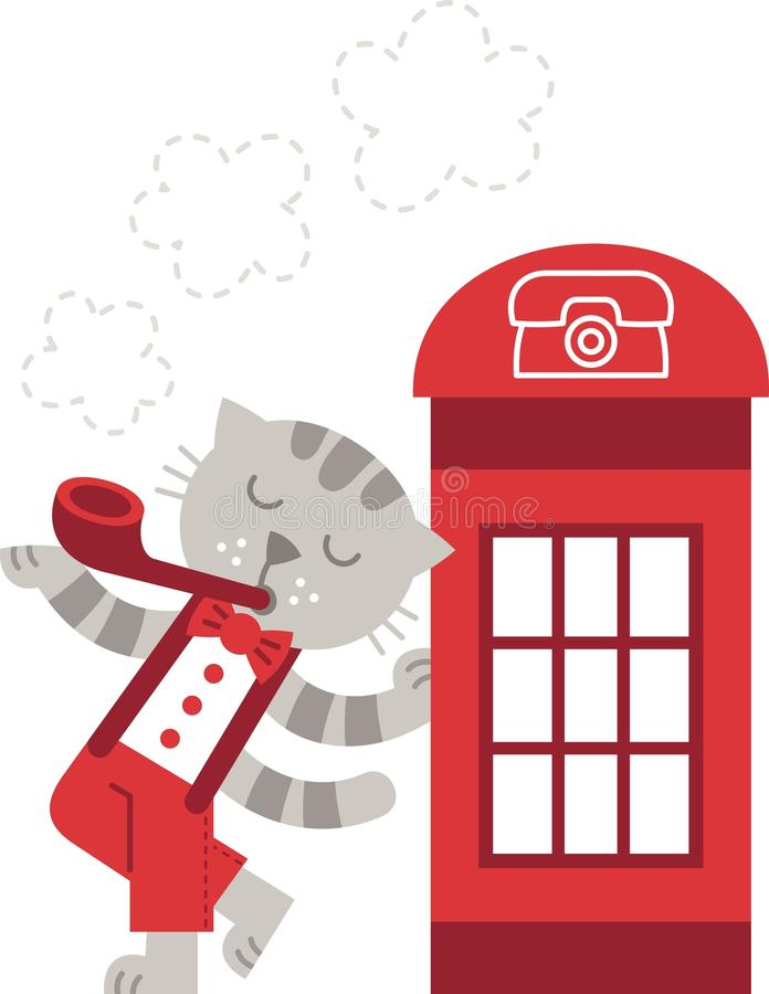 London katt royaltyfri illustrationer