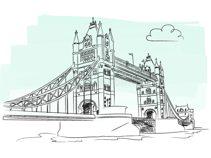 London-Kontrollturmbrücke vektor abbildung