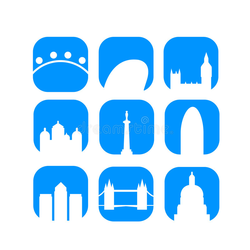 Download London Landmarks Icons Vector Stock Vector - Image: 9345452