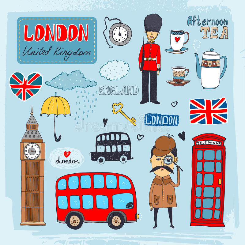 London landmarks. Set of hand-drawn illustrations of London landmarks and iconic symbols including beefeater guard Big Ben tea telephone booth red double-decker vector illustration