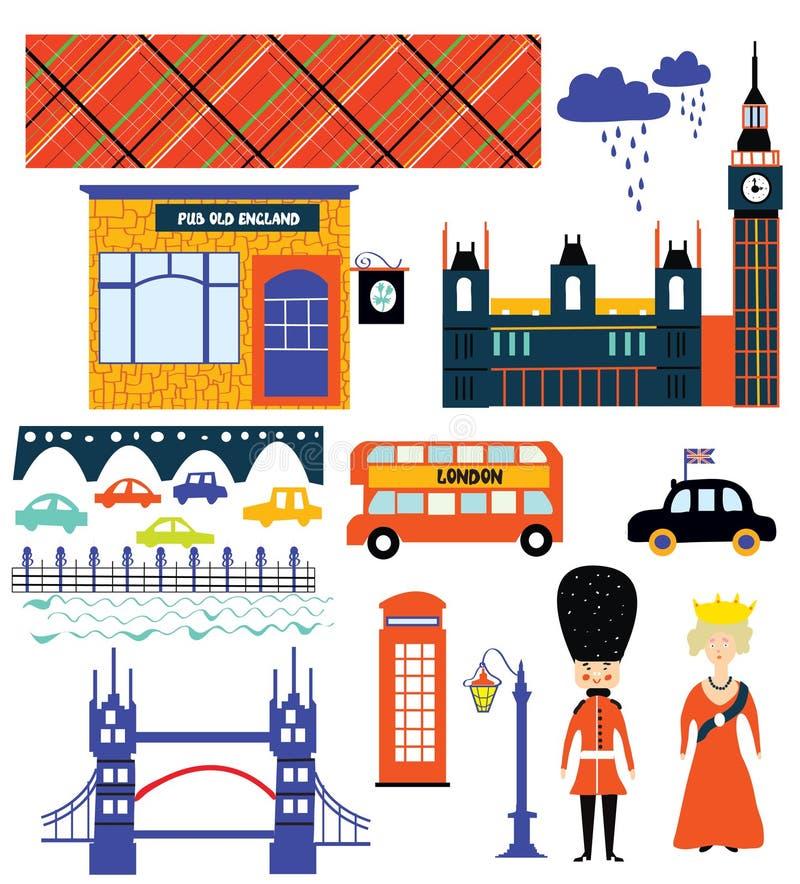 London landmarks and symbol set funny vector illustration