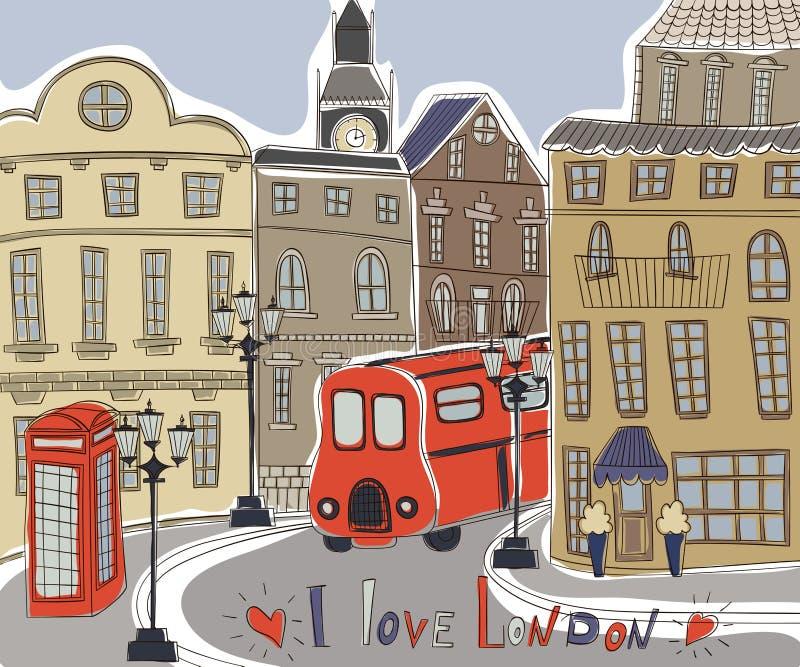 London landscape in vintage doodle style. I love london. royalty free illustration