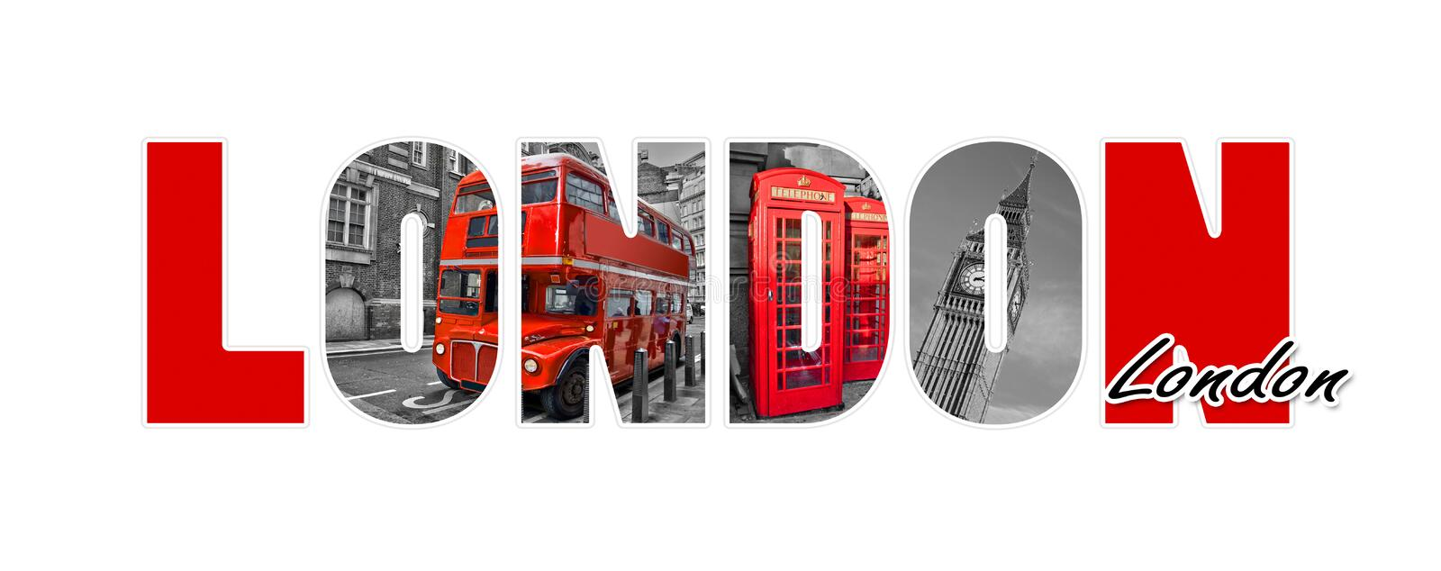 London letters, isolated on white background, travel and tourism, UK vector illustration