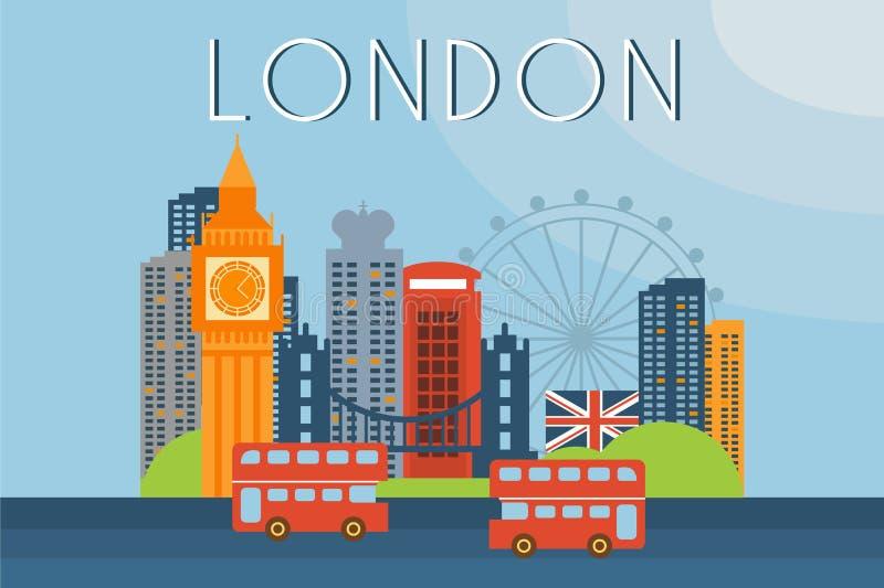 London loppgränsmärken, illustration för stadsarkitekturvektor i plan stil royaltyfri illustrationer