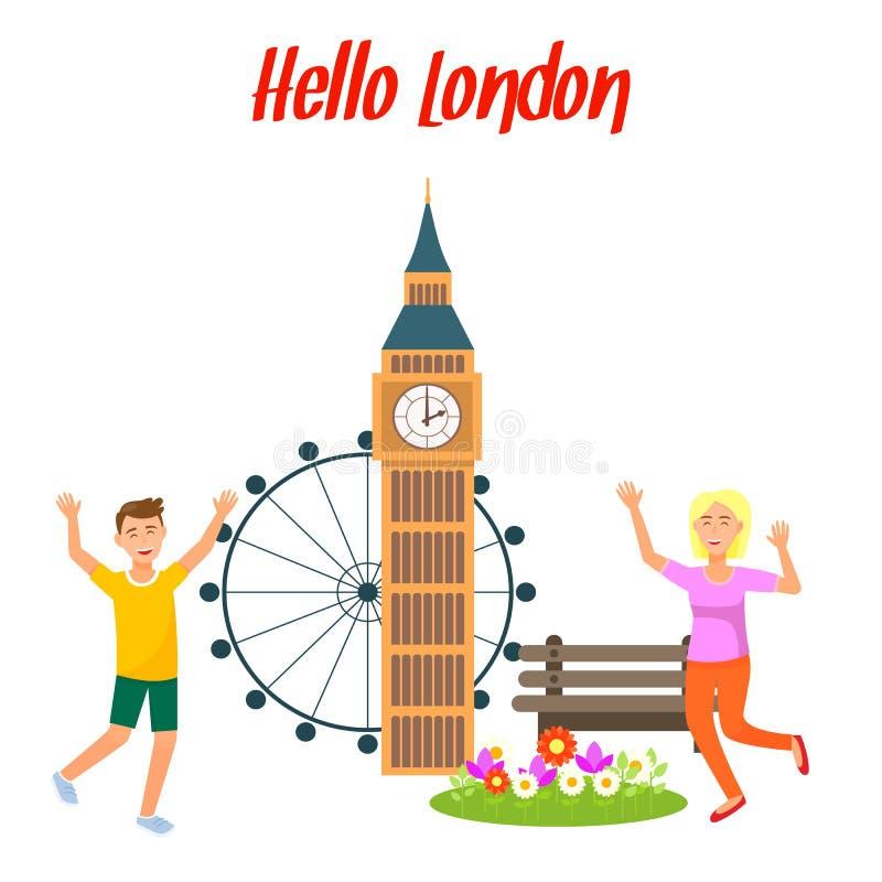 London loppvykort, affischmall med text stock illustrationer