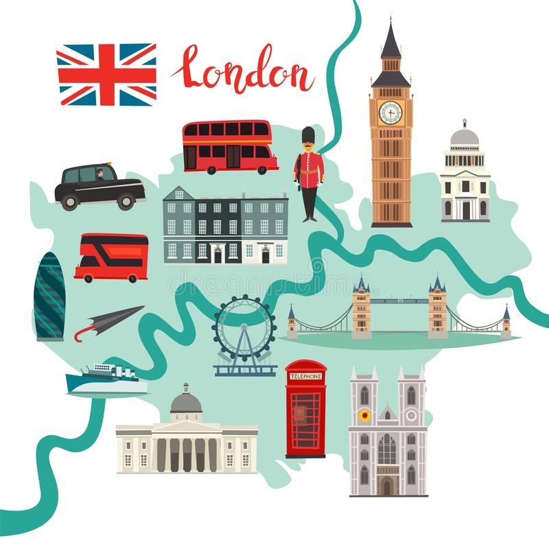 London map vector. Abstract atlas poster vector illustration