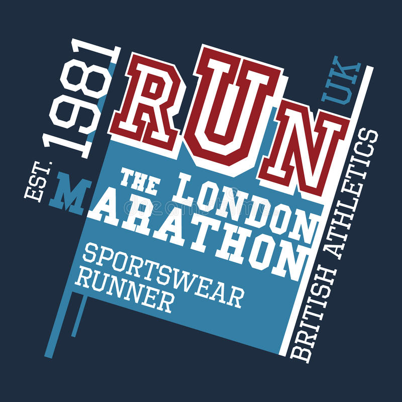 London maratont-skjorta design royaltyfri illustrationer