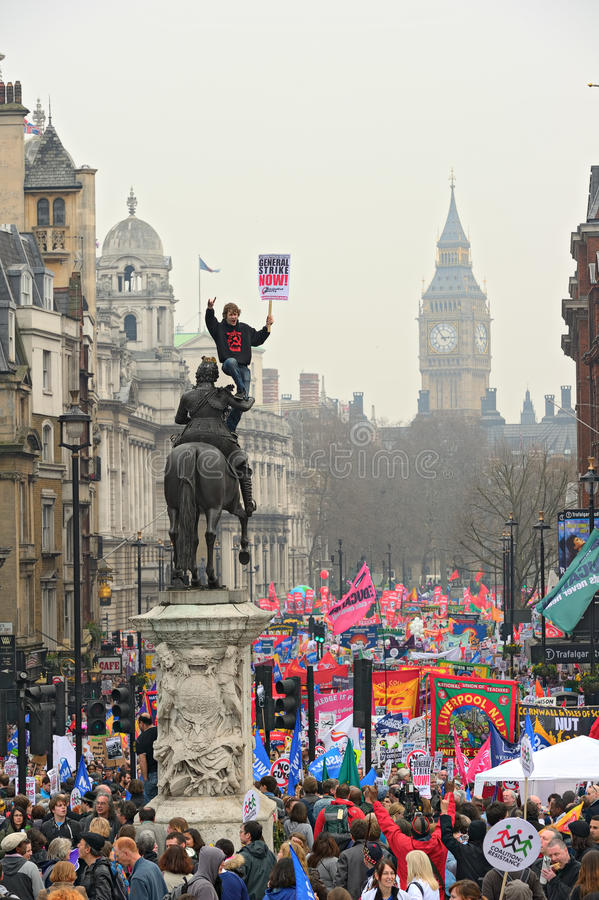 LONDON - MARCH 26: Protesters march down Whitehall against public expenditure cuts in a rally -- March for the Alternative --. Organised by the Trades Union stock images