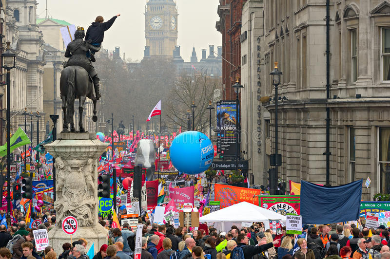 LONDON - MARCH 26: Protesters march down Whitehall against public expenditure cuts in a rally -- March for the Alternative --. Organised by the Trades Union royalty free stock photo