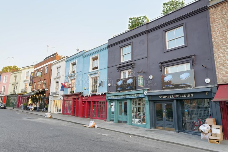 LONDON - MAY 2015: Homes of Notting Hill, London. Portobello Road Market at Notting Hill currently is one of top 15 shopping royalty free stock photography