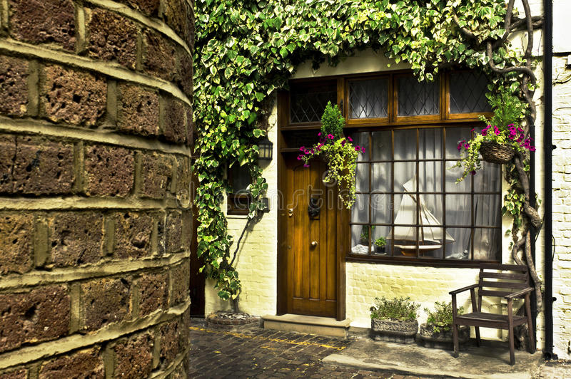 London Mews. Beautiful house front in one of london's cozy mews stock photo