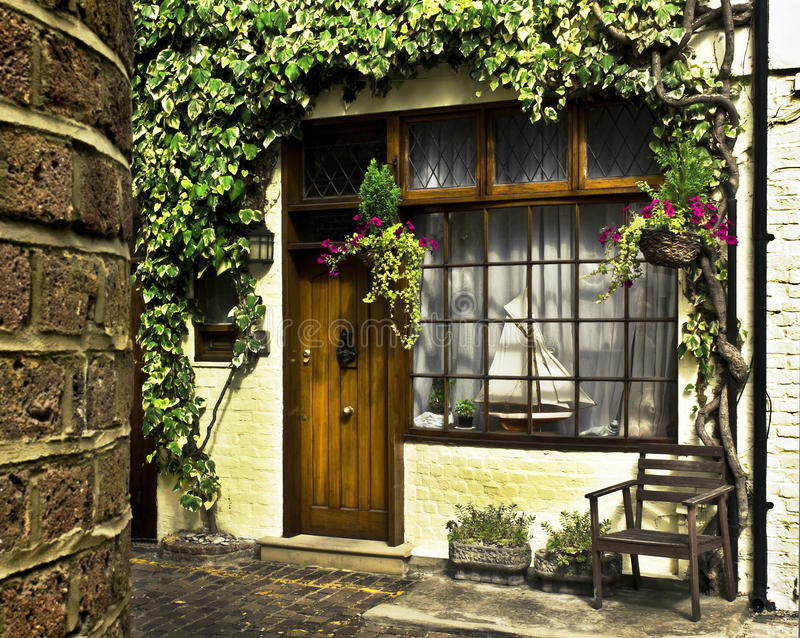 London Mews. Beautiful house front in one of london's cozy mews royalty free stock photos