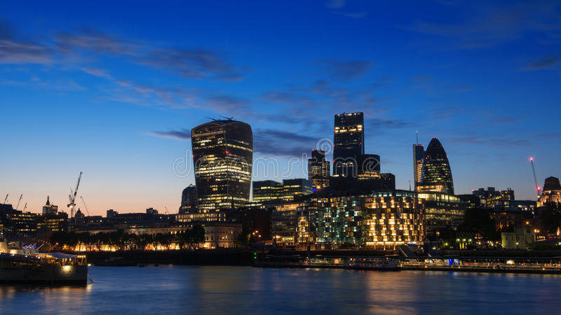 London miasta w nocy obraz stock