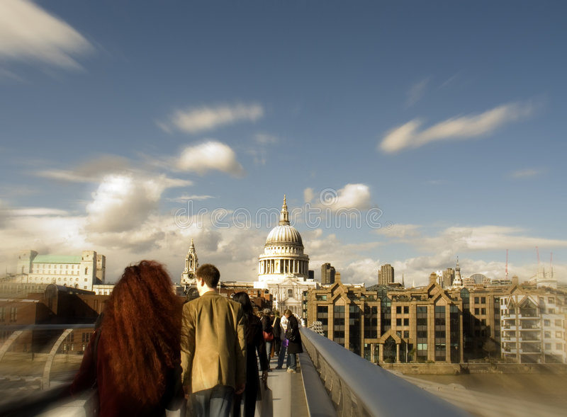 London Millennium Bridge and St Pauls. With tourists royalty free stock photos