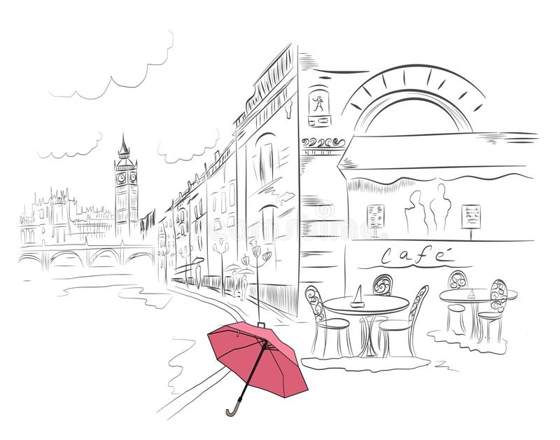 London nach Regen lizenzfreie stockfotos