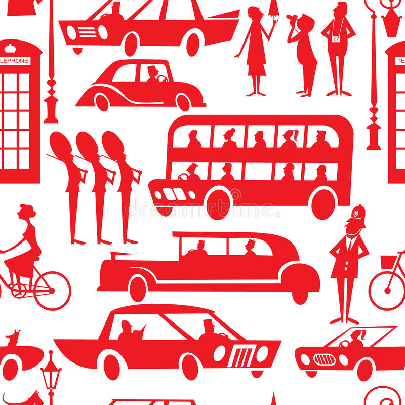 London-nahtloses Muster lizenzfreie abbildung