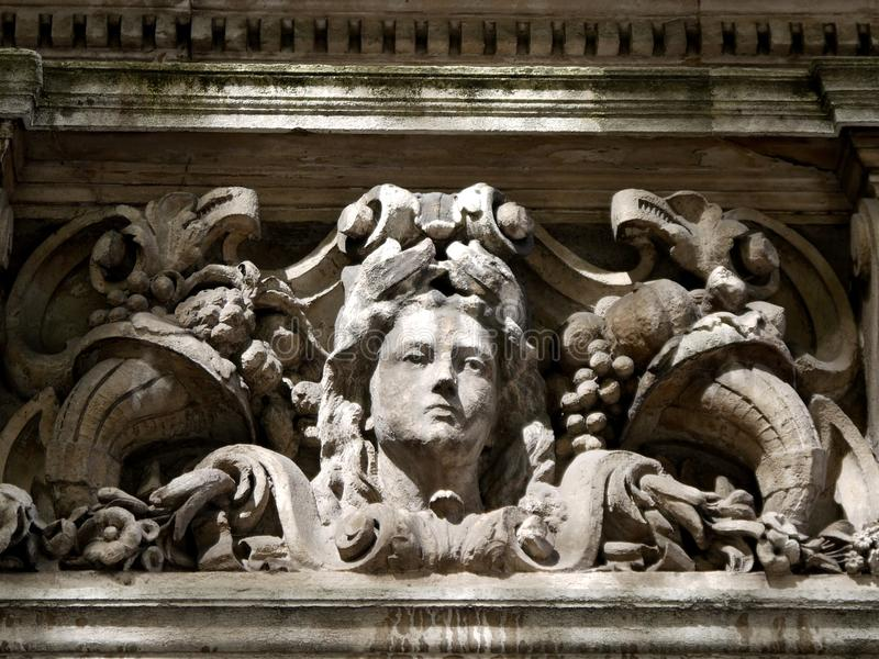 London: neoclassical stone woman's head royalty free stock photography