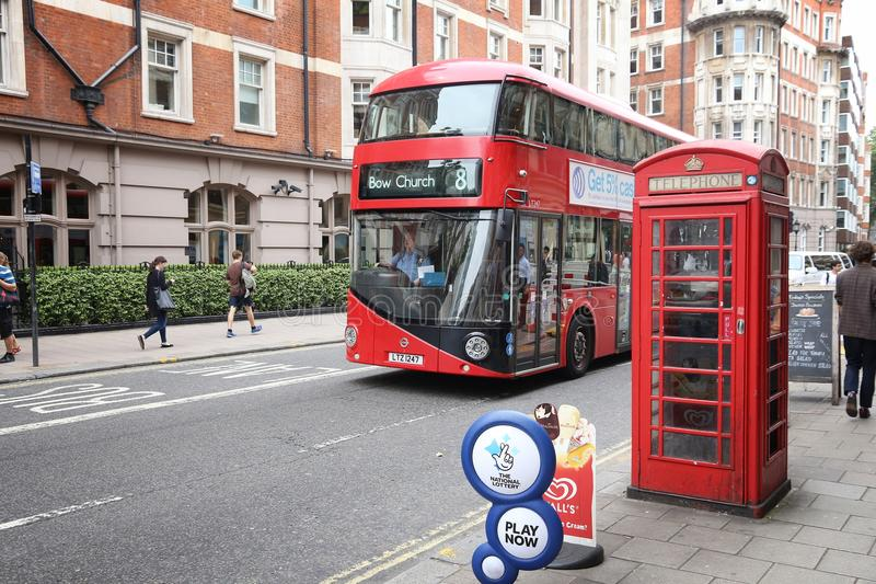 London New Routemaster. LONDON, UK - JULY 9, 2016: New Routemaster bus in Bloomsbury, London. The hybrid diesel-electric bus is a new, modern version of iconic royalty free stock photo