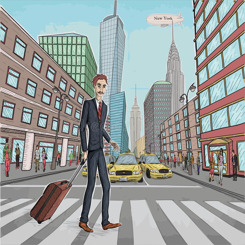 London New York building Empire State Chrysler Building city lan. Dscape taxi street business men walking with bag vector closeup beautiful comics retro drawing vector illustration