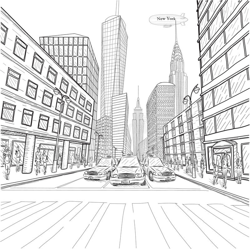 London New York building Empire State Chrysler Building city lan. Dscape taxi street people silhouette vector closeup beautiful black line outline drawing vector illustration
