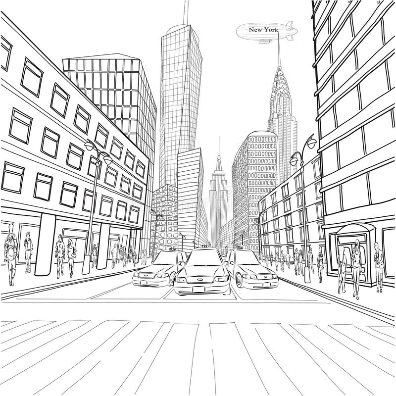 London New York building Empire State Chrysler Building city lan. Dscape taxi street people silhouette vector closeup beautiful black line illustration isolated stock illustration