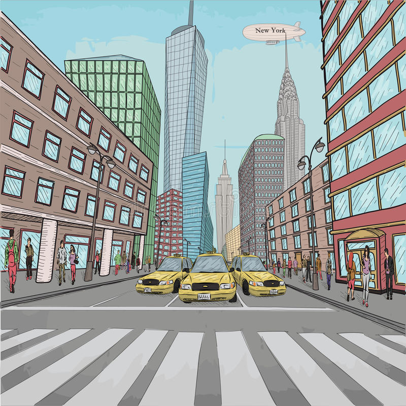 London New York building Empire State Chrysler Building city lan. Dscape taxi street people walking vector closeup beautiful comics colorful retro vintage stock illustration
