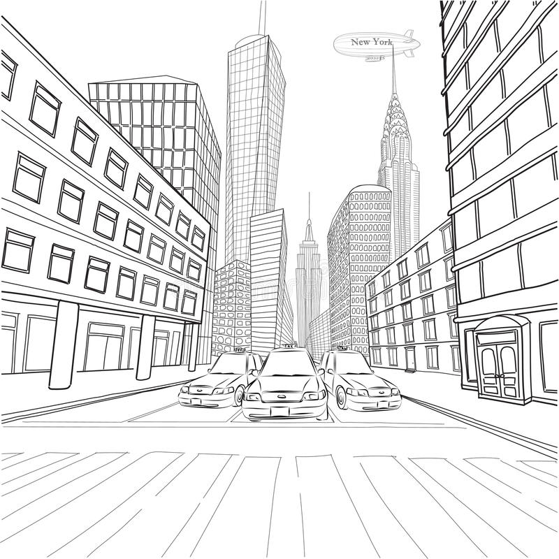 London New York buildings Empire State Chrysler Building city la. Ndscape cityscape taxi cars car street.Vector close-up beautiful black line outline drawing vector illustration