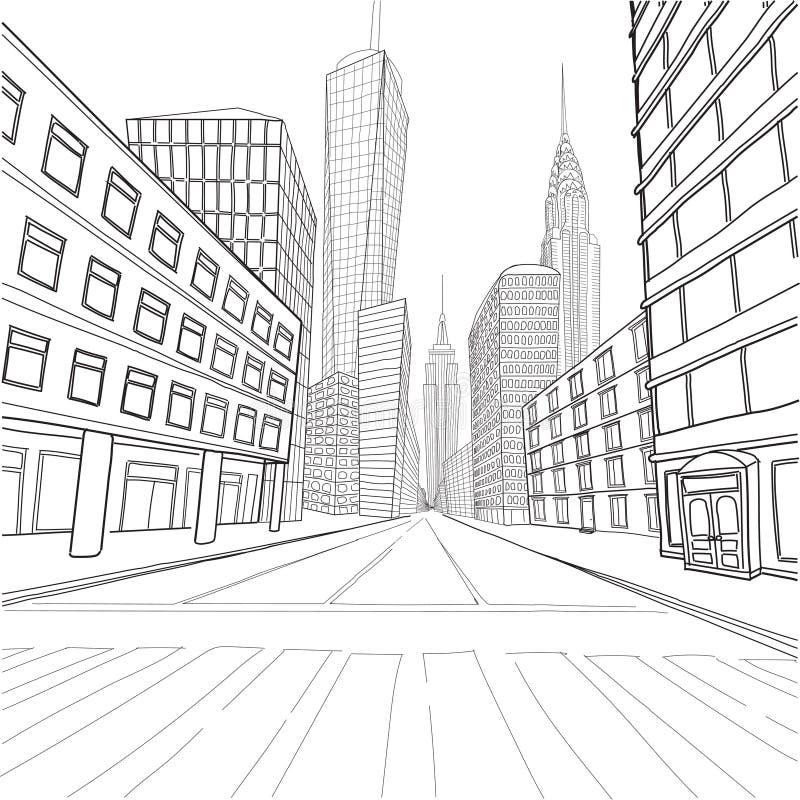 London New York buildings Empire State Chrysler Building World T. Rade Center city landscape cityscape street.Vector close-up beautiful black line outline vector illustration