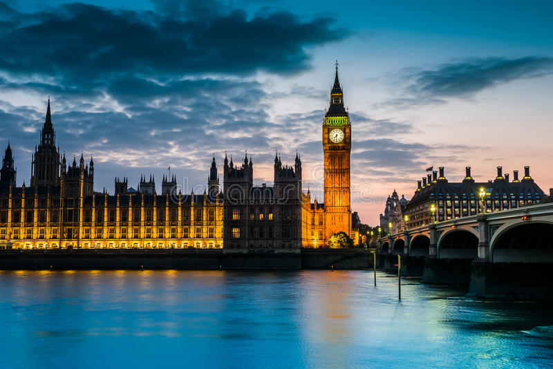 London at Night. Big Ben and Westminster abbey at night in London, UK royalty free stock photos