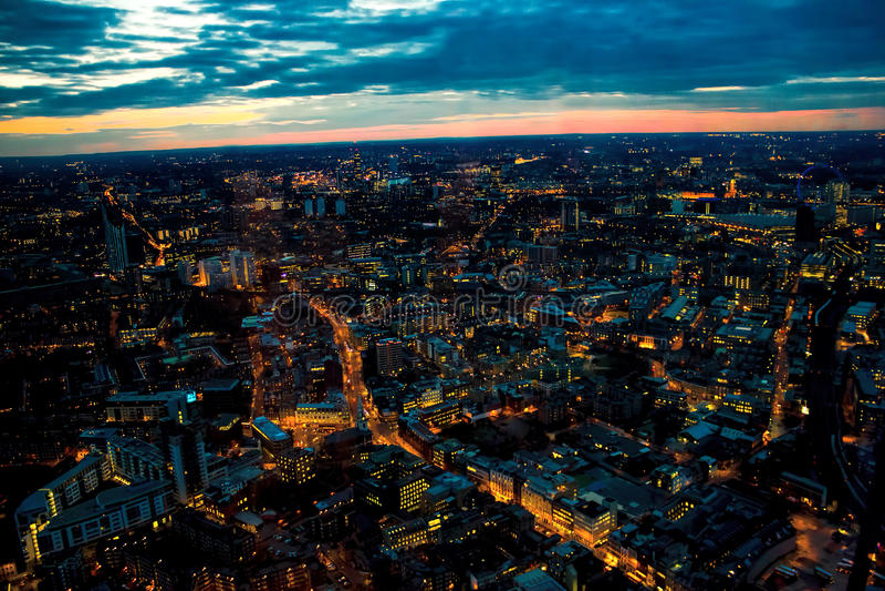 London Night Looking West. London Eye, Waterloo, Battersea stock image