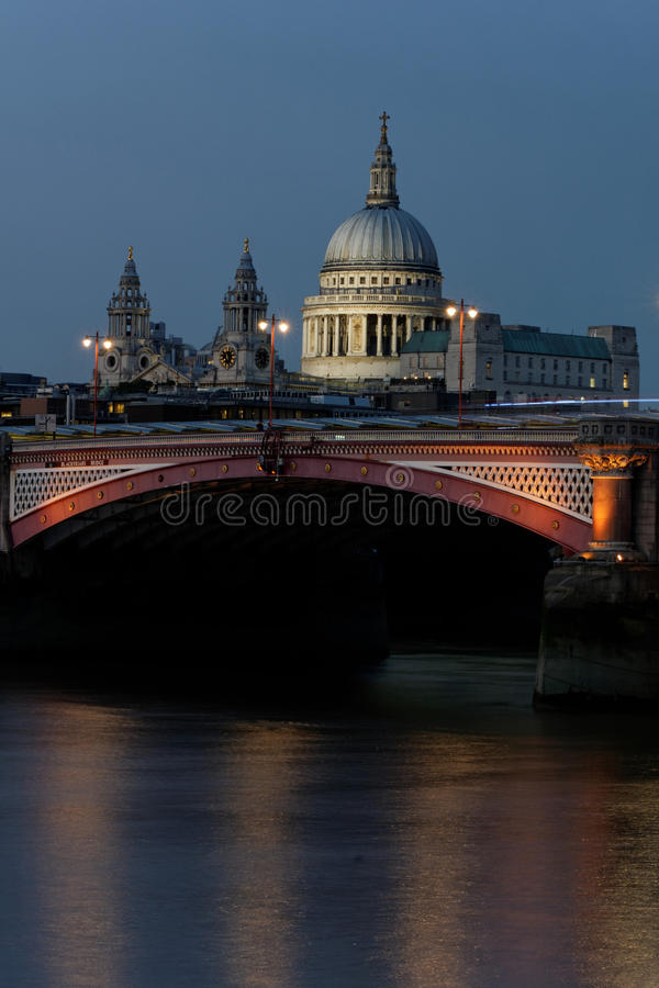 London at night. St. Paul's Cathedral in London at night stock image
