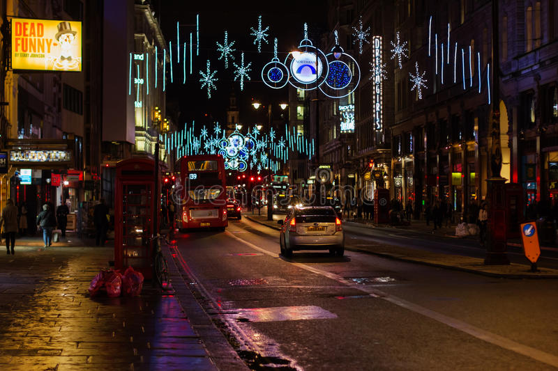 LONDON - NOVEMBER 17, 2016: Strand street with Christmas decorations stock photos
