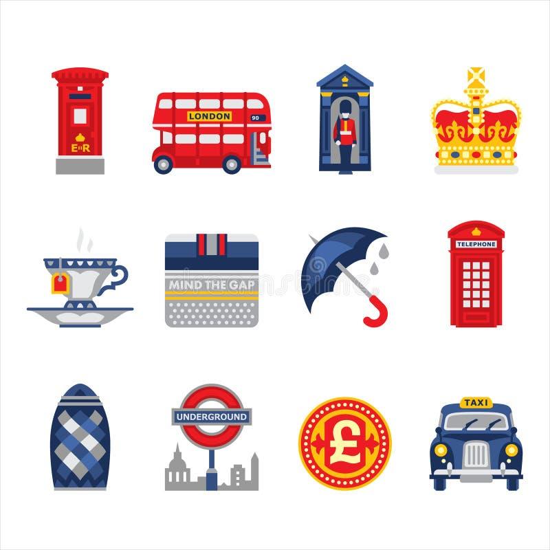 London och England symbolsuppsättning vektor illustrationer